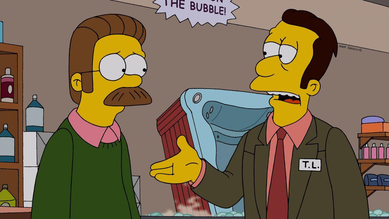 Wollen, dass Homer sein Amt als Diakon wieder aufgibt: Flanders (l.) und Reverend Lovejoy (r.) ... - Bildquelle: und TM Twentieth Century Fox Film Corporation - Alle Rechte vorbehalten