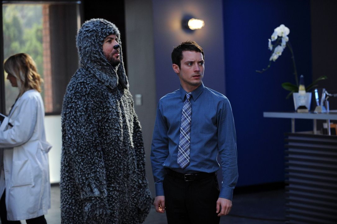 Ryan (Elijah Wood, r.) muss Wilfred (Jason Gann, l.) zeigen, wie er sich im Büro zu benehmen hat. Leider hört der Hund gar nicht auf Ryan und nervt... - Bildquelle: 2011 FX Networks, LLC. All rights reserved.