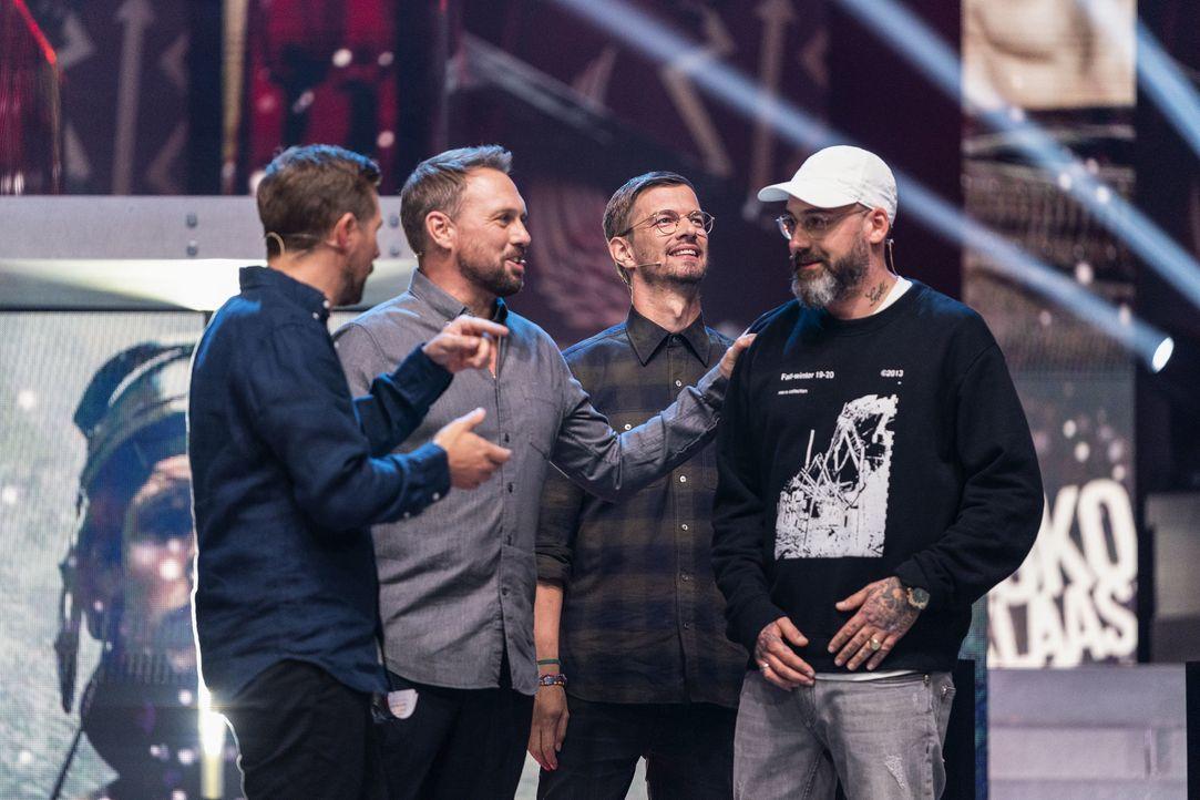 (v.l.n.r.) Klaas Heufer-Umlauf; Steven Gätjen; Joko Winterscheidt; Sido - Bildquelle: Jens Hartmann ProSieben / Jens Hartmann