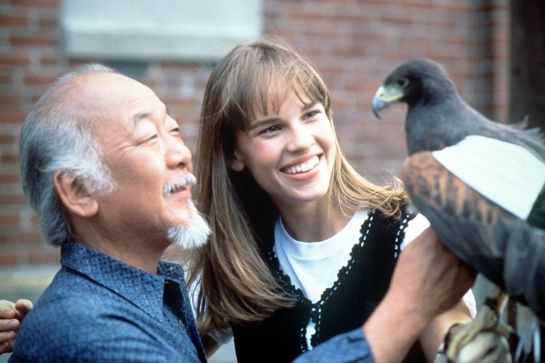 """Durch den Karateunterricht bei dem weisen Kesuke Miyagi (Noriyuki """"Pat"""" Morita, l.) schöpft die 17-jährige Julie (Hilary Swank, r.) neuen Mut und... - Bildquelle: Columbia Pictures"""