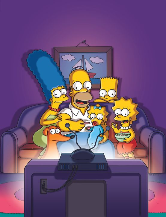 (30. Staffel) - (v.l.n.r.) Marge; Homer; Maggie; Bart; Lisa (vorne) Knecht Ruprecht - Bildquelle: 2018-2019 Fox and its related entities.  All rights reserved.