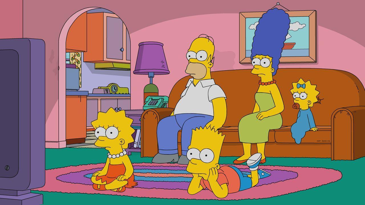 Stellen sich einem neuartigen Test, der einiges über ihren Charakter offenbart: (v.l.n.r.) Lisa, Homer, Bart, Marge und Maggie ... - Bildquelle: 2017-2018 Fox and its related entities.  All rights reserved.