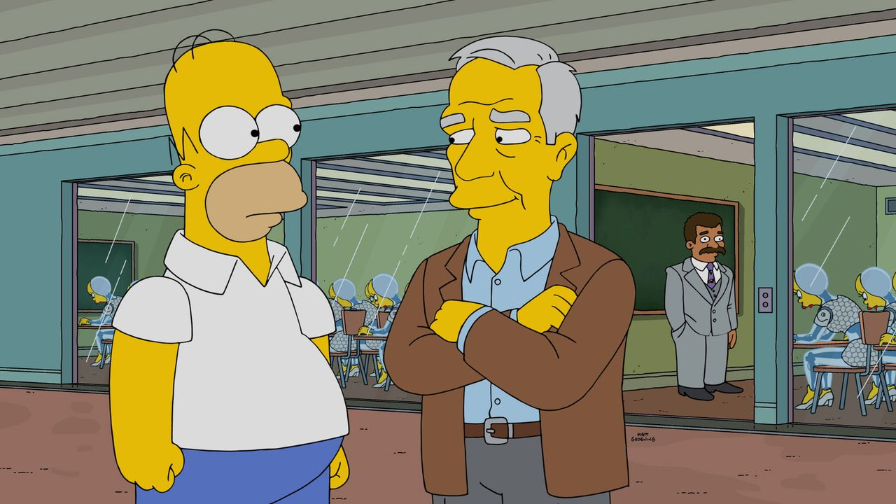 Voller Stolz erhält Homer (l.) die Möglichkeit, mit den besten Professoren Amerikas Roboter zu unterrichten. Unter ihnen ist auch der amerikanische... - Bildquelle: 2016-2017 Fox and its related entities. All rights reserved.