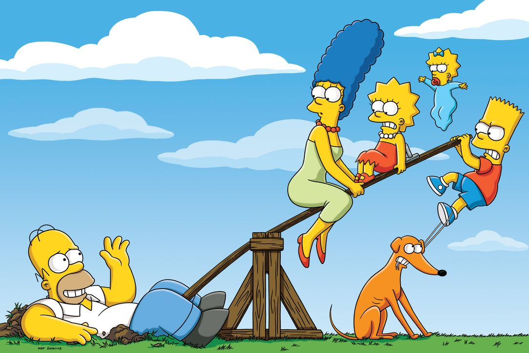 (26. Staffel) - Eine etwas andere Familie: Maggie (2.v.r.), Marge (2.v.l.), Homer (l.), Bart (r.) und Lisa Simpson (3.v.l.) ... - Bildquelle: 2014 Fox and its related entities. All rights reserved