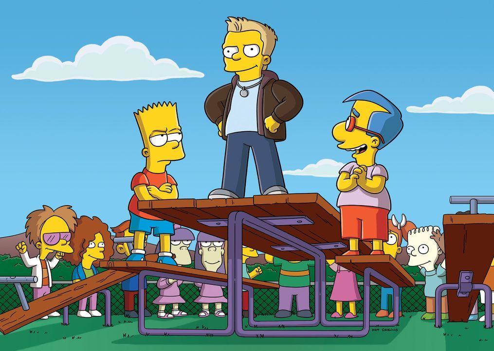 """Bart (l.) hat Konkurrenz bekommen: Donny (M.) ist plötzlich der coolste Junge der Schule. Um seinen """"Titel"""" zurückzubekommen, lässt sich Bart ein... - Bildquelle: und TM Twentieth Century Fox Film Corporation - Alle Rechte vorbehalten"""