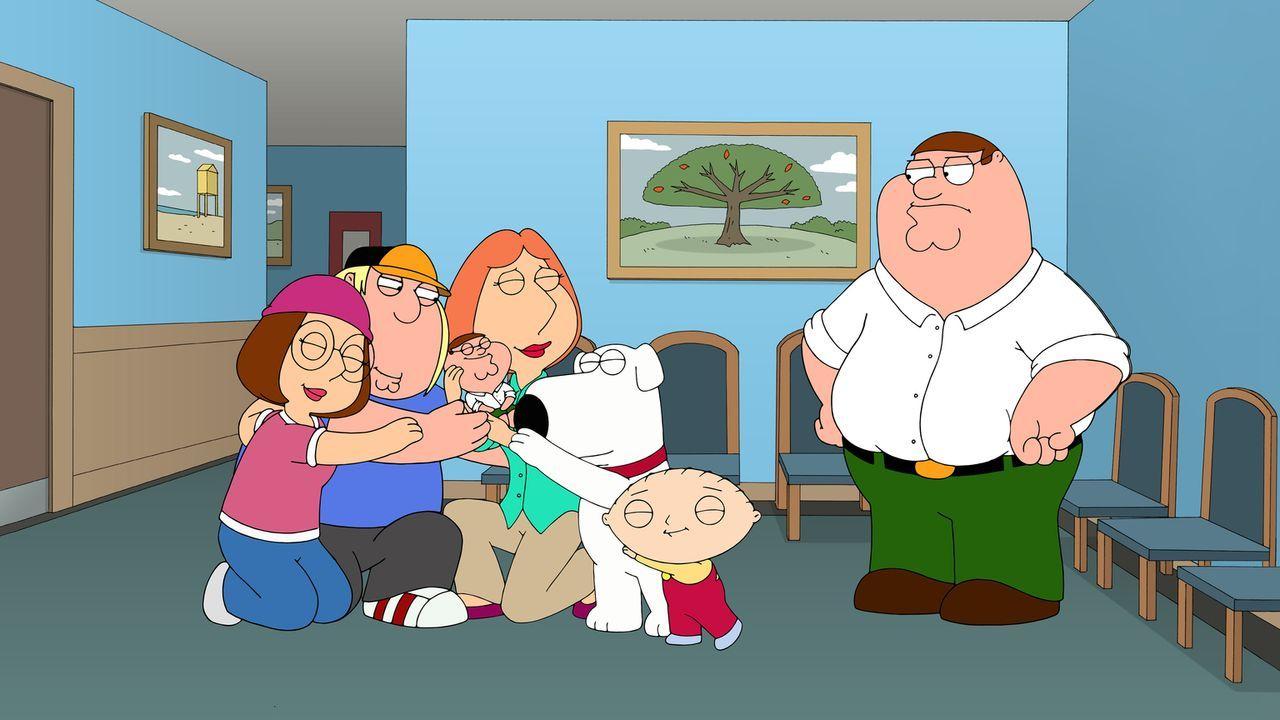 Im Gegensatz zu Peter (r.) sind Stewie (2.v.r.), Lois (M.), Brian (3.v.r.), Megan (l.) und Chris (2.v.l.) von Peters Zwilling (3.v.l.) begeistert ... - Bildquelle: 2014 Twentieth Century Fox Film Corporation. All rights reserved.