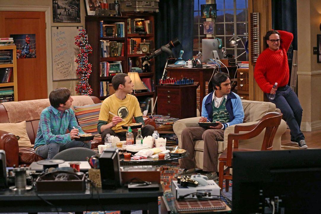 Erleben einen ganz besonderen Abend: Howard (Simon Helberg, l.), Sheldon (Jim Parsons, 2.v.l.), Leonard (Johnny Galecki, r.) und Raj (Kunal Nayyar,... - Bildquelle: Warner Brothers Entertainment Inc.