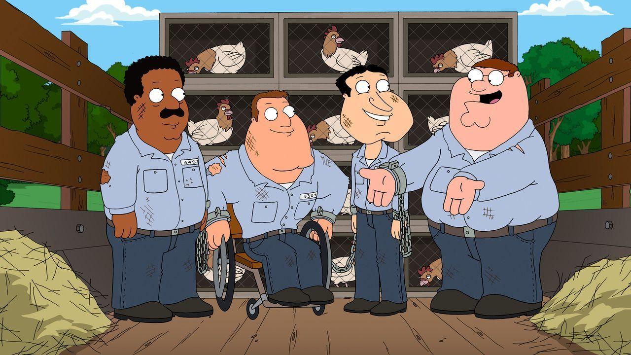 Werden Peter (r.), Cleveland (l.), Joe (2.v.l.) und Quagmire (2.v.r.) das Arbeitslager je wieder verlassen können? - Bildquelle: 2011 Twentieth Century Fox Film Corporation. All rights reserved.