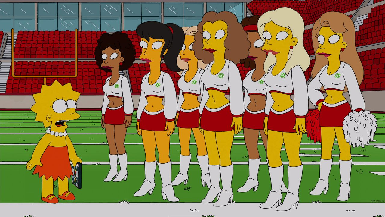 "Wird von den Cheerleadern des örtlichen Profifootballteams ""Springfield Atoms"" rekrutiert: Lisa (l.) ... - Bildquelle: 2013 Twentieth Century Fox Film Corporation. All rights reserved."