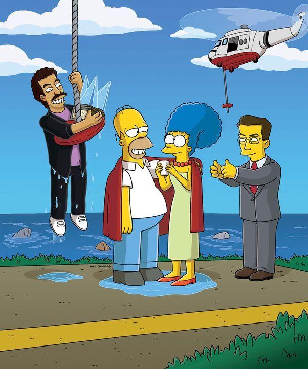 Was ist nur mit Homer (2.v.l.) und Marge (2.v.r.) los? - Bildquelle: 2007 Twentieth Century Fox Film Corporation. All rights reserved.