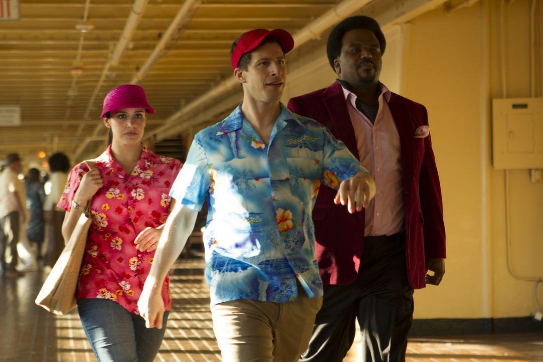 (v.l.n.r.) Amy Santiago (Melissa Fumero); Jake Peralta (Andy Samberg); Doug Judy (Craig Robinson) - Bildquelle: John P. Fleenor 2015 UNIVERSAL TELEVISION LLC. All rights reserved. / John P. Fleenor