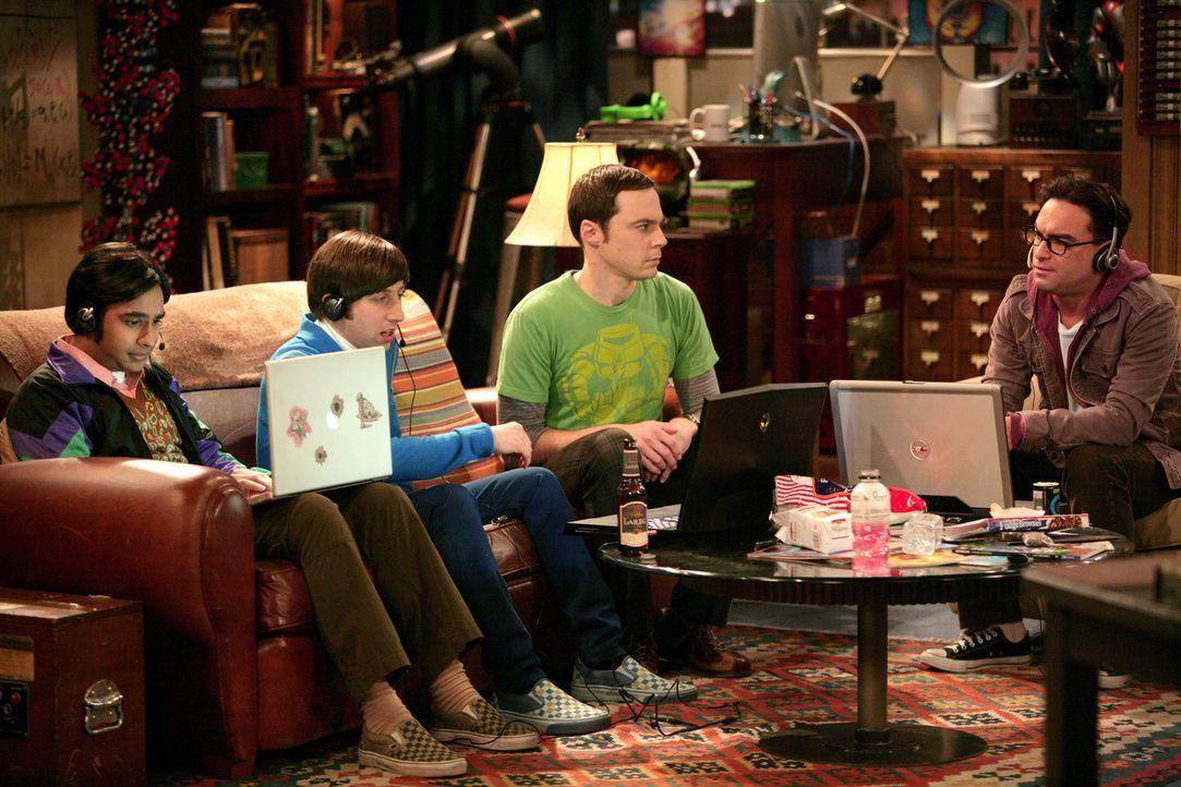 Bei einem Online-Spiel wird Sheldons (Jim Parsons, 2.v.r.) Zugang gehackt und er wird beraubt. Leonard (Johnny Galecki, r.), Howard (Simon Helberg,... - Bildquelle: Warner Bros. Television