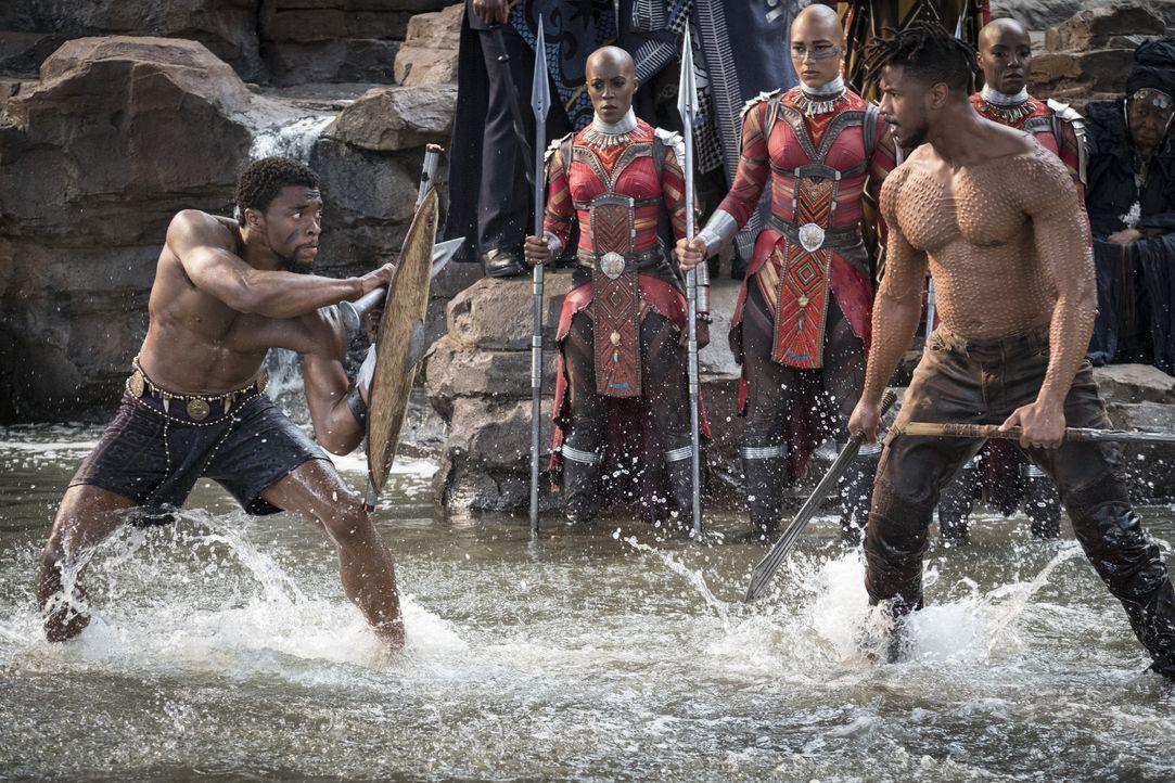 T'Challa / Black Panther (Chadwick Boseman, l.); Erik Killmonger (Michael B. Jordan, r.) - Bildquelle: Matt Kennedy Marvel Studios 2018 / Matt Kennedy