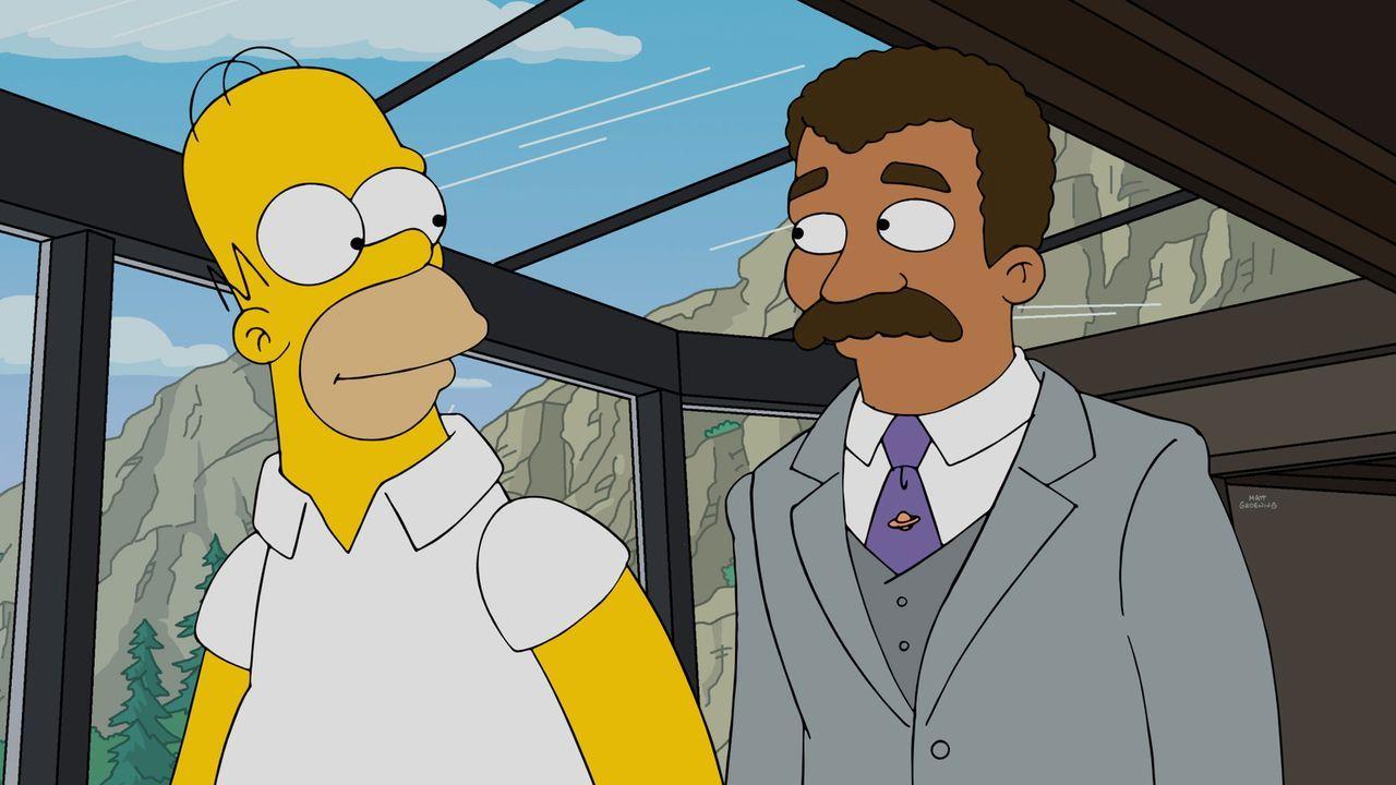 Sind sich einig, dass sie dem skrupellosen Vorhaben von Mr. Burns ein Ende machen müssen: Homer (l.) und Neil deGrasse Tyson (r.) ... - Bildquelle: 2016-2017 Fox and its related entities. All rights reserved.