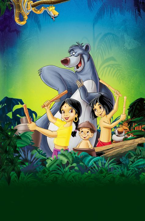 Das Abenteuer im Dschungel geht weiter:  Kaa (links oben), Shanti (vorne l.), Ranjan (vorne M.), Mogli (vorne r.), Balu (hinten und Shir Khan (r.) ... - Bildquelle: Disney Enterprises, Inc. All rights reserved.