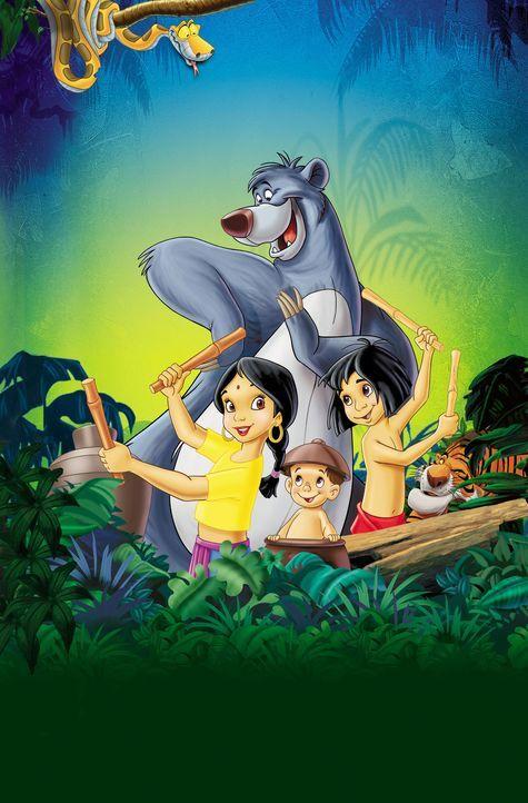 Das Abenteuer im Dschungel geht weiter:  Kaa (links oben), Shanti (vorne l.), Ranjan (vorne M.), Mogli (vorne r.), Balu (hinten und Shir Khan (r.) ... - Bildquelle: Disney Enterprises, Inc. All rights reserved.